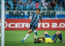 Ferreira balançou a rede pela primeira vez no profissional (LUCAS UEBEL/GREMIO FBPA)