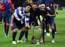 Suárez, Messi e Neymar: trio campeão da Champions pode se reencontrar — Foto: Getty Images
