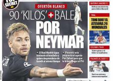 Capa do jornal Mundo Deportivo com proposta do Real Madrid por Neymar: Bale mais € 90 milhões — Foto: Reprodução