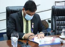 Vereador Marcelo Mourão, do Podemos, durante sessão ordinária da Câmara de Dourados; Foto: Valdenir Rodigues/CMD